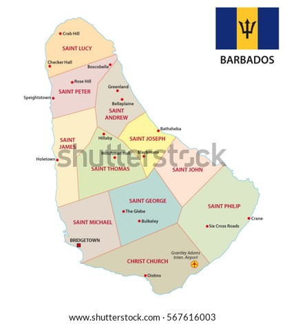 Barbados Map Stock Vector Shutterstock - Political map of barbados
