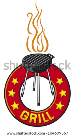 barbecue grill label (barbecue grill symbol) - stock vector