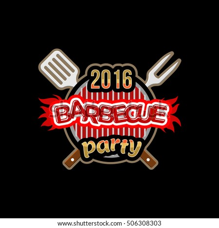 Barbecue party logo template.