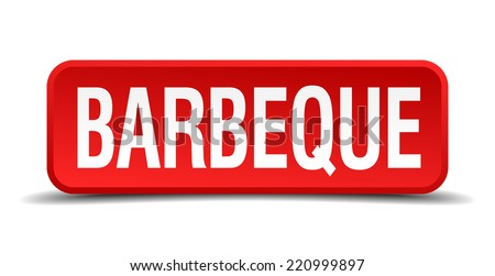 barbeque red three-dimensional square button isolated on white background