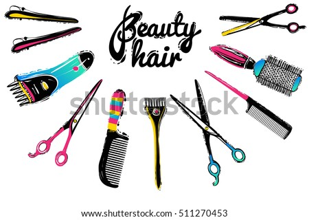 Professional hairdresser tools isolated on white stock for Hair salon tools