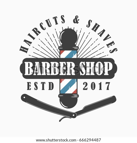 barber shop logo hairdressing salon template stock vector