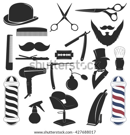 Vintage Barber Shop Tools Silhouette Icons Stock Vector