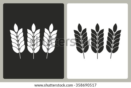 Barley  -  black and white icons. Vector illustration.