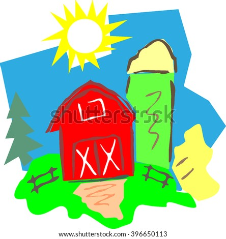 barn and farm vector
