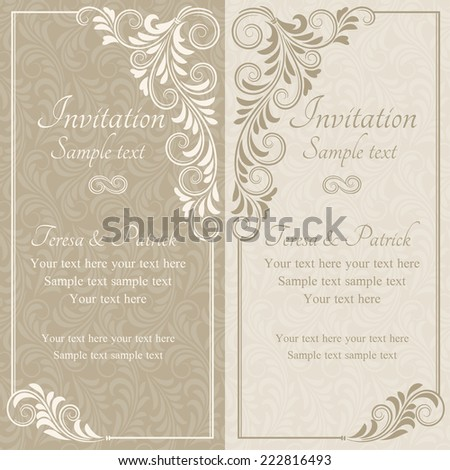 Baroque invitation card in old-fashioned style, beige