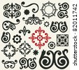 baroque ornaments, abstract floral design elements - stock vector