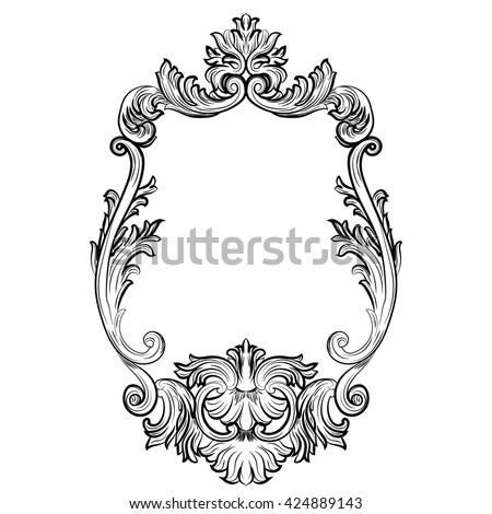 Baroque rococo mirror frame decor vector stock vector for Miroir style baroque