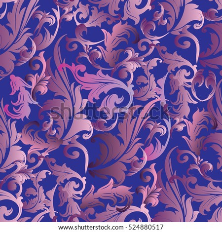 Baroque seamless pattern. Floral blue background wallpaper illustration with vintage antique decorative flowers, leaves and baroque ornaments. Elegant vector floral  texture.