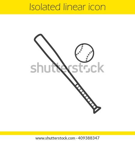 Baseball Bat Line Icon On White Stock Vector 487876024 - Shutterstock