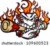 Baseball Flaming Face Biting Bat Vector Image - stock vector