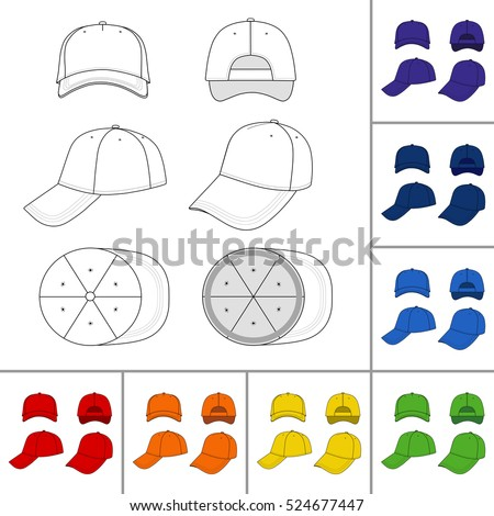 Baseball, tennis cap colored vector illustration featured front, back, side, top, bottom isolated on white