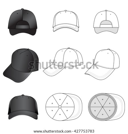 Baseball, tennis cap set illustration featured front, back, side, top, vector illustration isolated on white background