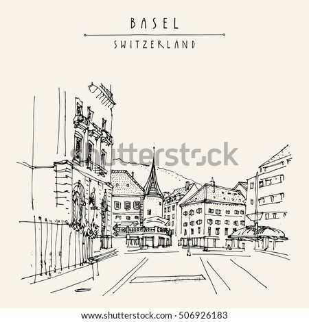 Basel, Switzerland, Europe. Street and historical houses in old town. Hand drawn postcard, poster, calendar or book illustration in vector