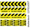 Basic illustration of police security tapes yellow with black a lot kinds of stickers and templates vector illustration danger signs - stock photo