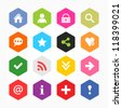 Basic sign icon set. Simple rounded hexagon internet button gray background. Solid plain monochrome color flat tile. Minimal modern metro style. Vector illustration web design elements saved 8 eps - stock vector