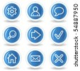 Basic web icons, blue glossy circle buttons - stock photo