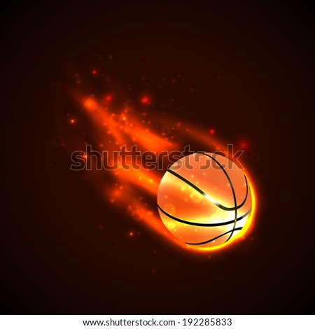Basketball on fire. Vector