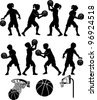 Basketball Players Silhouettes of Kids - Boys and Girls - stock vector