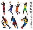 Basketball players. Vector - stock vector
