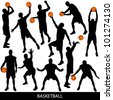 Basketball silhouettes - stock vector
