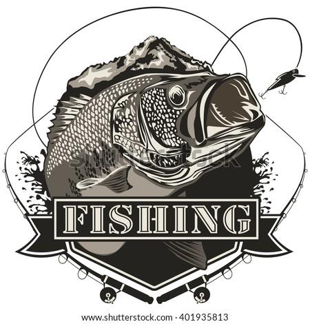 Bass Fish Perch Fishing Vector Illustration Stock Vector 401935810 ...