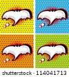 Bat Halloween Speech Bubble in Pop-Art Style backgrounds set - stock