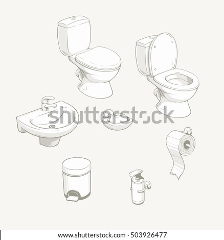 Bathroom and toilet equipment accessories. Vector illustration. Ceramic sanitary for Water closet. Wc part