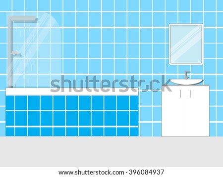 Bathroom interior design with furniture and shadows. Modern flat design. Flat style vector illustration.