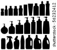 Bathroom Silhouette Set Vector - stock photo
