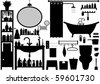 Bathroom Toilet Design Set Vector - stock vector
