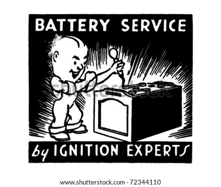 Battery Service 2 - Retro Ad Art Banner