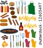 BBQ Items Vector Illustration - stock vector