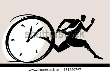 Person Symbol Rush Runs Against Clock Stock Illustration