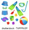 Beach accessories for boy - stock vector