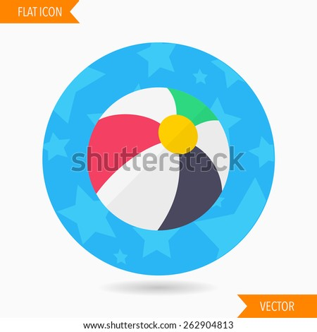 beach ball flat icon with long shadow on blue circle background , vector illustration , eps10