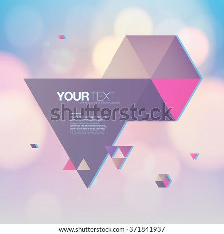 Beautiful abstract triangles design with your text and bokeh lights background  Eps 10 stock vector illustration