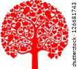 Beautiful abstract valentine tree isolated on White background. Vector illustration - stock vector