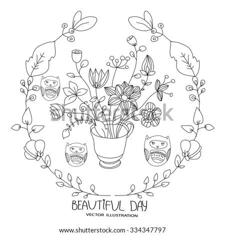 Handdrawn Wedding Invitation Flowers On Chalkboard 218324614