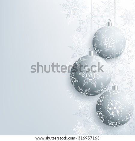 Beautiful background with gray Christmas balls and white, grey ornate stylized snowflakes. Stylish winter festive wallpaper for New Year and Christmas. Greeting, invitation card. Vector illustration.