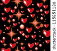 beautiful black background with red elements - hearts, stars and other - stock vector