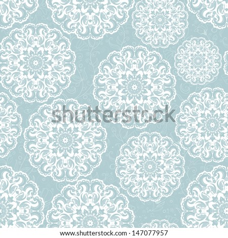 Beautiful blue seamless lace background vector eps 8