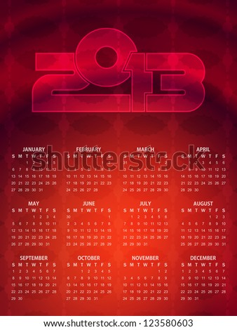 Beautiful calendar design in red color. vector illustration