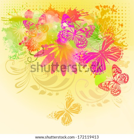 Beautiful card with a floral abstraction and with butterflies