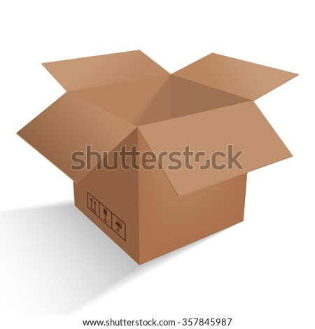 Beautiful cardboard box. Costs mailbox with mail icon, fragile, do not flip, not wet. Open Box with shadow.