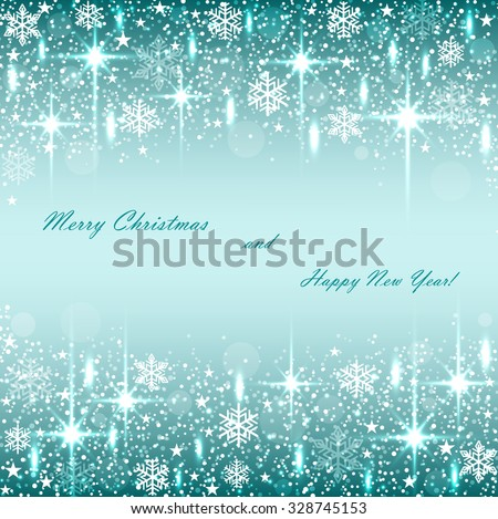 Beautiful  Christmas  turquoise background with sparkles .Vector  illustration