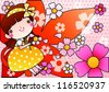 Beautiful Floral Festival and Cute Fairy - enjoying an lovely young girl with petals in romantic garden on a pink background of dotted patterns : vector illustration - stock vector