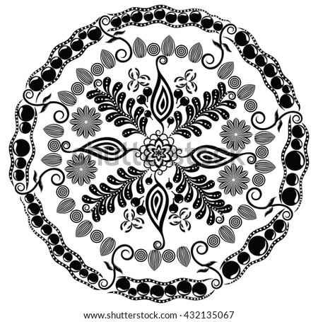 Beautiful floral mandala. Vector illustration for your design.