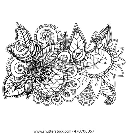 beautiful floral patterns style zentangle