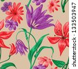 Beautiful floral seamless pattern vector - stock